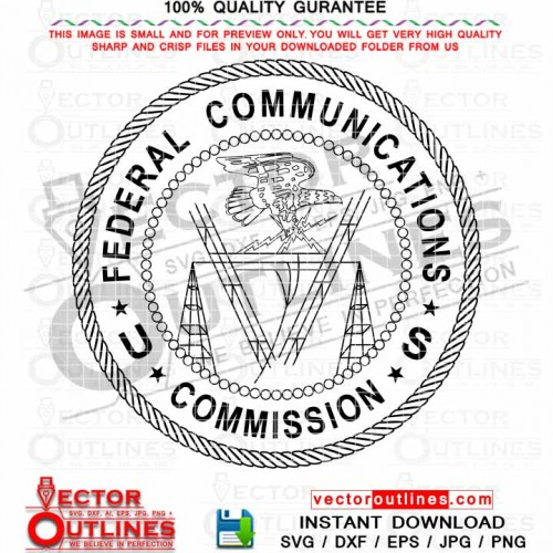 Federal Communications Commission vector svg seal logo black white outline cnc laser cut file