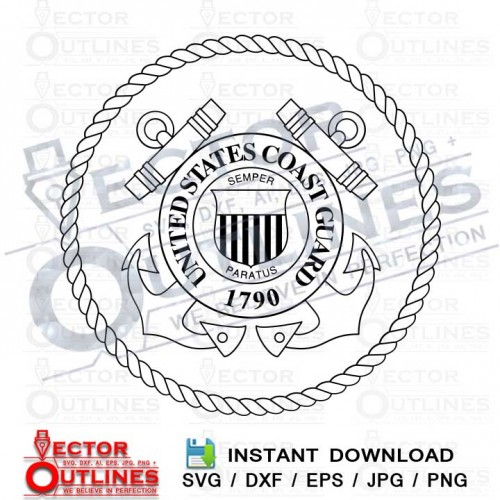 US COAST GUARD svg dxf toolpath outline logo for cnc cut file