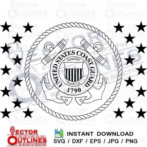 US Coast Guard Flag Union svg dxf cnc cutting file