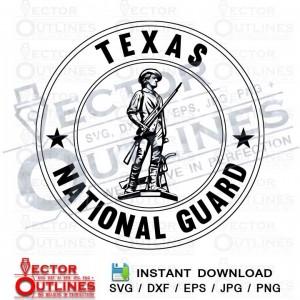 Texas National Guard black white svg dxf cnc engraving file