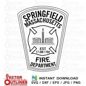 Springfield Fire Dept svg dxf wood engraving cnc laser vinyl cutting file
