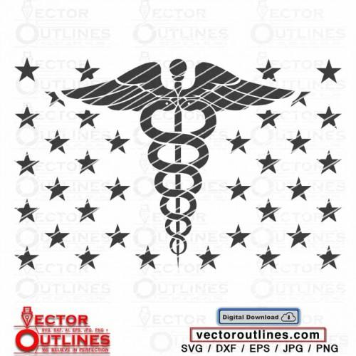 Medical Symbol vector svg, Dxf, Caduceus Symbol US Flag Union Cricut Cnc File