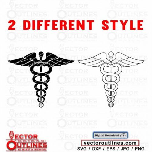 Medical Symbol svg, Caduceus Symbol svg, vector silhouette cnc cricut file