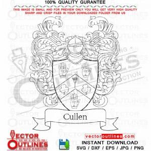 Cullen Family Crest vector svg Cullen Coat of Arms Shield Black White Outline Cnc Laser Cut, Cnc Router, Engraving File, Cricut File