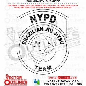 NYPD BRAZILIAN JIU JITSU TEAM logo black white vector svg cnc laser cut file dxf, jpg, png, eps, svg
