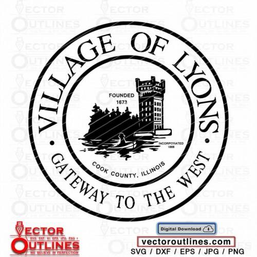 Village of Lyons logo svg vector Seal Cook County Illinois cnc cricut laser vinyl cutting file