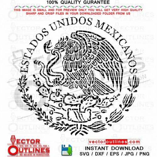 Svg Seal of Mexico vector cnc cut laser engraving cricut file