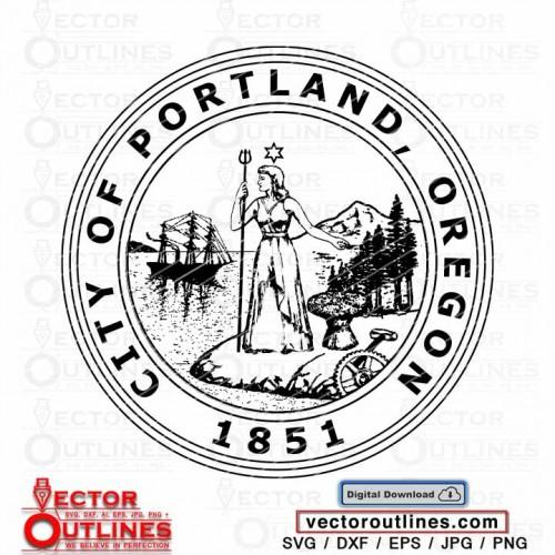 Seal of the City Of Portland State of Oregon logo svg vector black white silhouette clipart cnc vinyl cricut laser plasma x-carve v-carve carbide cutting engraving