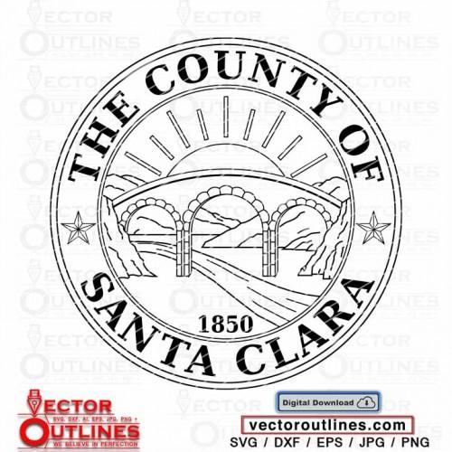 Svg Seal logo of the Santa Clara County, California state vector cnc cricut vinyl laser cutting file