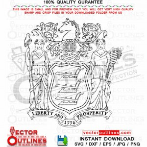 SVG Coat of Arms of New Jersey Vector logo outline black white CNC Laser Cut, Cricut Svg, Dxf Laser Engraving, Vinyl Cut File