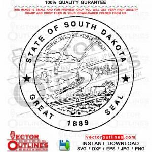 South Dakota svg State Seal vector logo black white Cnc laser Cut, Cnc Router File, Laser Engraving, Cricut file, Toolpath