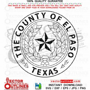 El Paso County seal svg vector logo El Paso Texas, Black white outline cnc laser cutting engraving file
