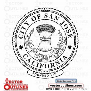 Svg Seal of the city of San José, California vector cricut laser vinyl cutting file