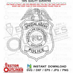 Alcohol Law Enforcement Division Police svg special agent Badge, NC, ALE vector Badge Black white outline cnc laser cutting file