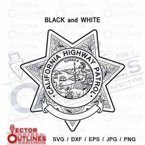 California Highway Patrol Officer editable blank badge svg dxf cnc cut file