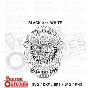 Coastal Security Services patrol officer badge South Carolina svg cnc dxf