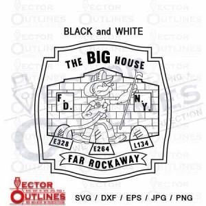 The Big House FD NY Far Rockaway fire dept patch svg dxf cnc toolpath
