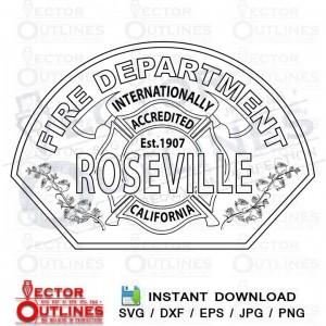 Roseville Fire Department California svg dxf cnc cut file