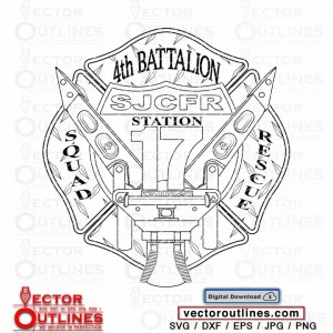 SJCFR Station 17 4th Battalion squad rescue Clipart Silhouette logo svg vector cnc cricut file