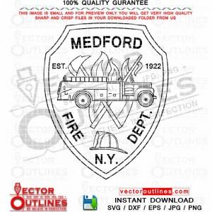 Medford Fire Department Patch Vector NY Svg Emblem, badge, logo, black white outline cnc laser cut file, engraving file, cnc toolpath