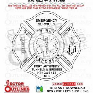 First Responder Emergency Service of Port Authority and Bridges Logo Emblem Svg Insignia Vector Patch Dxf Cnc Cut File, Laser Cut, Cricut Svg, Vinyl Cut, Svg Engraving File
