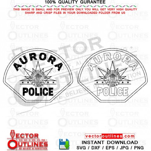 Aurora Police Badge Vector Svg Black White Outline, CNC Laser Cut, Cricut Svg, Vinyl Cut File, DXF Laser Engraving File, Colorado State
