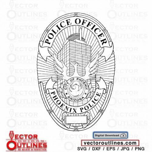 City of Phoenix Police officer Arizona vector badge svg dxf cnc cricut vinyl xcrave laser wood engraving file