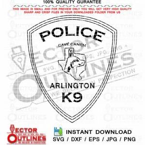 Arlington K9 Police svg, Vector, Badge, Patch, Shield, Logo, Arlington Texas, Police Dept, Black white vector, Outline, Dxf, Cnc Laser Cut File