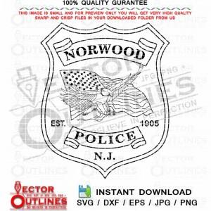 Norwood Police Badge Vector svg Norwood NJ Police Badge with flying eagle holding a wavy US flag black white outline cnc cut file