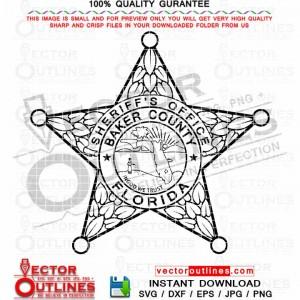 Baker County Sheriff Office Logo Vector Badge Patch Sheriff Star Logo Florida, Svg Dxf Black White Outline for Cnc Cut Laser Engraving