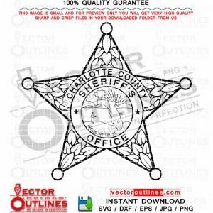 Charlotte County Sheriffs Office logo svg vector badge, patch, logo, emblem black white outline dxf, Cnc router, laser cut, engraving file
