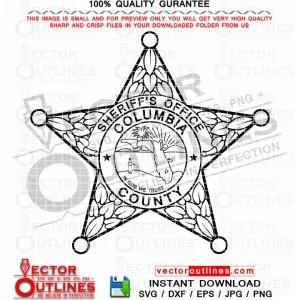 Columbia County Sheriff Office logo svg vector badge, patch emblem monogram black white outline svg clipart cnc laser cut file