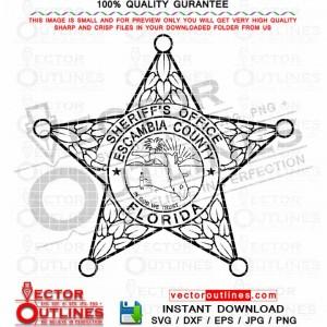 Escambia County Sheriff Office logo svg, vector badge patch emblem monogram black white outline svg clipart cnc laser cut file