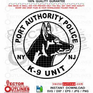 NY NJ Port Authority Police vector K9 Unit svg badge patch logo emblem black white cnc laser cutting file, engraving file