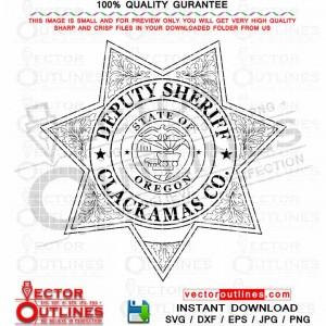 Clackamas County Deputy Sheriff SVG vector badge outline sheriff star DXF logo cnc file, laser cut file, vinyl cut file, Cricut file, Engraving file