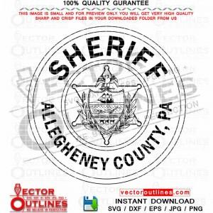 Allegheny County Pennsylvania Sheriff Department Vector Logo Black white outline CNC Laser Cut, Cricut, Engraving File