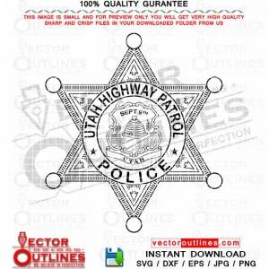 Utah Highway Patrol Police Svg Badge Vector File, Black White Outline CNC File for Laser Cutting, Engraving, Vinyl Cut File, CNC Toolpath Router File