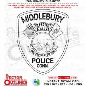 Middlebury Police Badge Vector, Svg Connecticut Middlebury PD Logo, Emblem, Cnc Laser Cut, Cricut Svg, Vinyl Cut File, Laser Engraving File Dxf