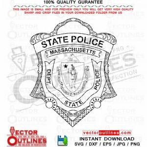 Massachusetts State Police Department Vector Badge Svg Logo Patch Dxf Cnc Cut File, Laser Cut, Cricut Svg, Vinyl Cut, Svg Engraving File