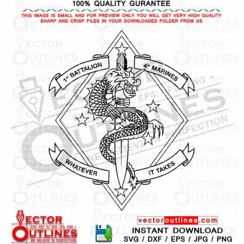 1st Battalion 4th Marine Vector USMC 1 4 Logo Svg Insignia Black white Outline DXF CNC Laer Cut, Cricut Svg, Vinyl Cut Ready File