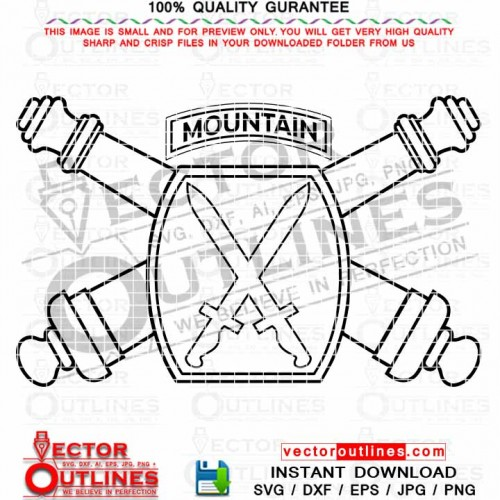 10th Mountain Division Artillery SVG Insignia, Outline Patch, Vector Logo, black white emblem, CNC Cut file, Laser Cut, Vinyl Cut, Engraving file