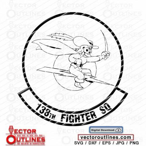 138th Fighter Squadron emblem vector svg logo dxf insignia patch cnc cricut cut file
