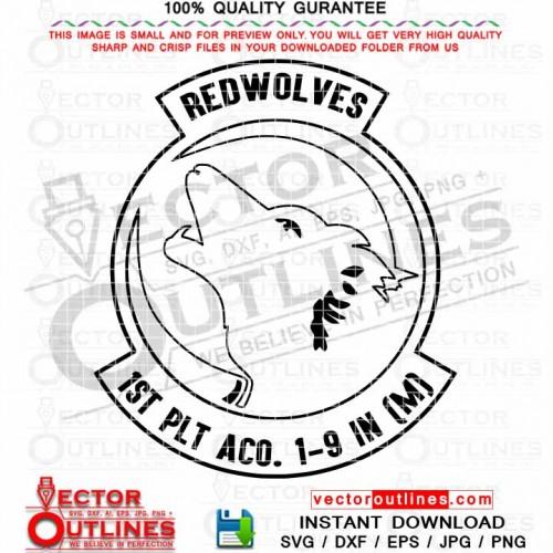 Redwolves 1st PLT ACO 1-9 IN Insignia Logo Patch, Emblem, Cnc Cut File for Laser Cut, Laser Engraving, Vinyl Cut, Cnc Router File