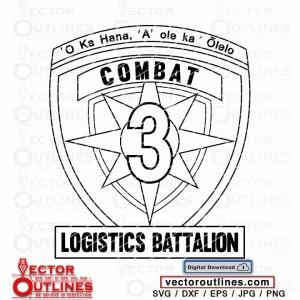 Marine Combat Logistics Battalion 3 insignia svg vector outline cnc cricut vinyl laser cutting file
