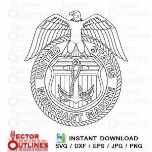 US Merchant marine vector logo svg insignia cnc cricut file