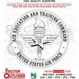 USAF Air Education and Training Command Vector Insignia Svg Badge Dxf Logo Cnc Laser Cut File, Vinyl Cut File, Cricut Svg, Laser Engraving File