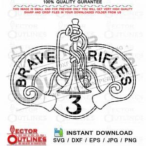 U.S. Army 3rd Cavalry Regiment svg Brave Rifles vector insignia crest black white outline cnc laser cut file engraving file