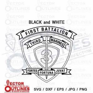 1st Battalion 3rd Marine Regiment USMC logo SVG, Dxf vector black white outline CNC Cutting File.