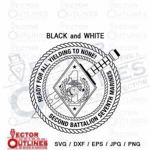 2nd Battalion 7th Marine Regiment USMC svg dxf black white cnc cut file