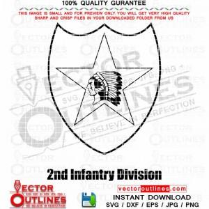 2nd Infantry Division SVG Logo vector Military Badge, Patch, Outline Dxf Cnc Cut File, Laser Cut File, SVG Engraving File Cricut Svg